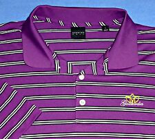 L DUNNING GAILLARDIA  PURPLE BLACK WHITE STRIPED OKLAHOMA GOLF MENS POLO SHIRT