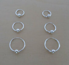 3 Pairs 14 mm 12 mm and 10 mm Diameter Sterling Silver Moving Ball Hoop Earrings