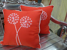 Cotton Cushion Covers Red White Hand Made Dandelion Embroidery (pair) 40cm