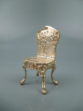 Antique Dutch or German Sterling Silver Rococo 18th C Style Dollhouse Chair Sl