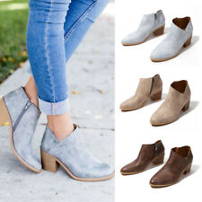 Womens Low Heel Booties Zipper Ankle Boots Block Heels Pointed Toe Casual Shoes