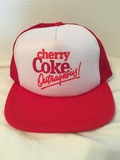 b6bf0f809ad6f Vtg Cherry Coke Outrageous Snapback Trucker Hat Cap 80s USA Soda Pop Coca  Cola
