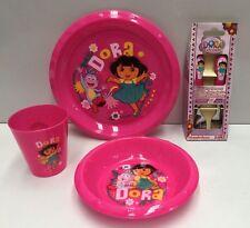 DORA THE EXPLORER KIDS PLASTIC MEALTIME PLATE / BOWL / CUP / CUTLERY SET