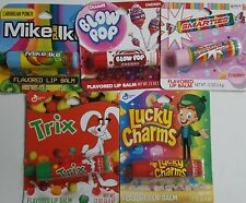 Flavored Lip Balm  Lucky Charms Trix Smarties Mike And Ike Charms Blow Pop Lot 5