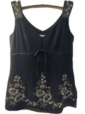 Ann Taylor 100% Silk Black Tank Blouse Gold Floral Embroidered Size 2