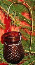 ANTIQUE CHRISTMAS AMBER GLASS CANDLE FAIRY LAMP/LANTERN QUILTED PATTERN