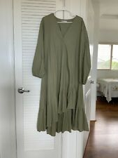 Zara Sage Khaki Ruffled Dress Green Dress XL Size