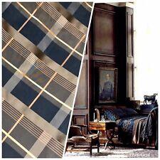 NEW Designer 100% Silk Taffeta Plaid Tartan Fabric- Black Gold Brown GFSAN0001