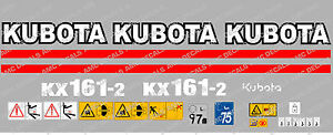 KUBOTA KX161-2 MINI DIGGER COMPLETE DECAL SET WITH SAFETY WARNING SIGNS