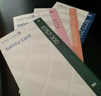 United Airlines 4 NEW Safety Cards Boeing 737, 767, 777, Airbus A319 Lot of FOUR