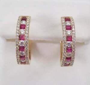 4.25Ct Princess Cut Ruby & Diamond Studded Hoop Earrings 14k Yellow Gold Over