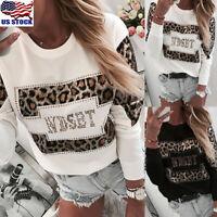 Womens Leopard Print Sweatshirt Blouse Ladies Long Sleeve Loose Pullover Tops US