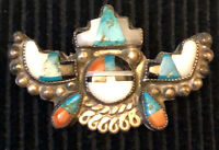 Zuni attr. Alonzo Hustito Pin Mosaic Inlay Stepped Horns Sun Kachina 1940-1950s