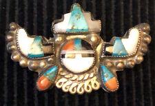 Zuni attr. Alonzo Hustito Pin Mosaic Inlay Stepped Horns Sun Kachina 1940-1950s