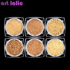 6 Pots Set Mix Size Cork Powder Wood Dust Nail Art Decoration Glitter 3D DIY