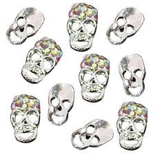10 pcs Silver Skull Alloy 3D AB Rhinestone Crystal Nail Art Tips Slice Deco S6E2