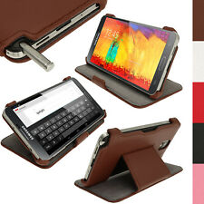 Marrone EcoPelle Case Cover per Samsung Galaxy Note 3 N9000 N9005 + Prot Schermo