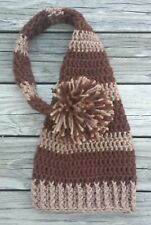 Brown long tailed elf photo prop crochet hat infant boy girl newborn up to 0-6m
