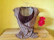 Size 10 brown pink vintage retro 50's surf look geometric print tie up wrap top