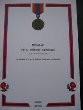 DIPLOME VIERGE MEDAILLE DEFENSE NATIONALE ECHELON OR