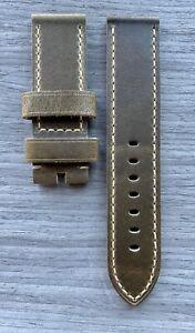 24mm Cracked Panerai RANGER Handmade Italian Leather Watch Strap 24/24 4mm  ECRU