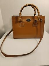 Vtg Dooney And Bourke Camel Leather. Bamboo Handled Purse