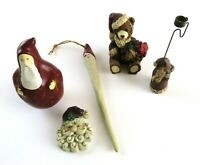 Mixed Lot of 5 Vintage Figures, Ornaments, Pin - Santa Claus and Bear
