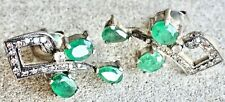 With Emeralds & Diamonds New listing Antique Reproduction Earrings Silver