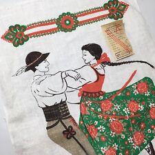 Linen Kitchen Tea Towel Poland Dancers Folk Costume 1972 Bielsko-Biała Label