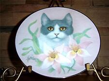 Petals And Purrs, Pink Lillies, Bob Harrison, Tuxedo Cat Kitten Plate