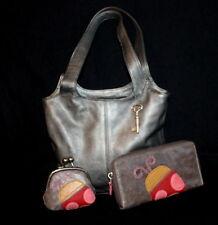 G Vtg Fossil 1954 Gun Metal Gray Leather Handbag Ladybug Wallet Change Purse