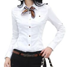 Womens Office Long Sleeve Blouse Ladies Casual Vintage Shirt Cotton Top Size White 12