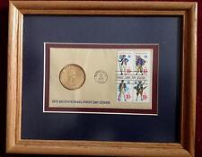 MATTED & FRAMED BICENTENNIAL FIRST DAY COVER U.S. POSTAGE STAMPS WITH MEDALLION