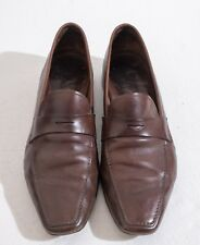 Genuine Prada Mens Brown Leather Loafers Size 8 (Style 1727)