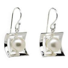 925 Sterling Silver Freshwater 9mm Pearl Drop Earrings hallmarked (SE0356)