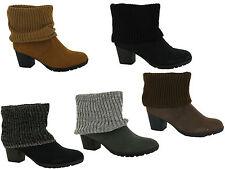New Ladies Cuban Heel Sock Biker Ankle Boots Sizes UK 4 5 6 7 8 9
