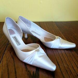 FILIPPA ROSE Bridal Wedding Kitten Heel Shoes White Satin Size EU 40 / UK 6.5