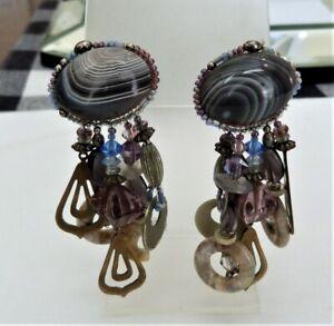 "3 1/8"" VINTAGE SIGNED CHIPITA AGATE HAND GLASS BEADED ARTISAN EARRINGS MADE USA"