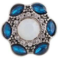 Teal Blue Opal Rhinestone 20mm Snap Charm Interchangeable For Ginger Snaps