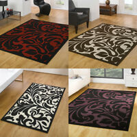Modern Large Small Floral Damask Red Beige Black Purple Rug in Various size Rugs