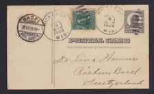 USA 1908 UPRATED POSTAL STATIONERY CARD RICE LAKE WISCONSIN TO BASEL SWITZERLAND