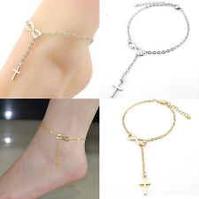 Bracelet Barefoot Sandal Beach Foot Jewelry Gold Silver Cross Chain Anklet Ankle