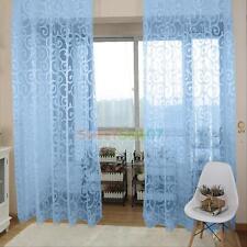 Floral Tulle Voile Door Window Curtain Drape Panel Sheer  Valances Home Decor