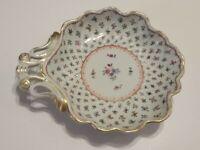 Original Dresden Bowl Dish w Handle, Enameled Latticework SP Thieme Mark Germany