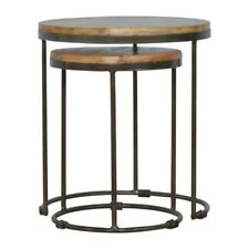 Industrial Nest Of Tables Solid Dark Wood With Black Coloured Iron legs