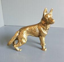 More details for vintage heavy brass alsatian figurine - 1kg+ retro hunting dog ornament (ba24)