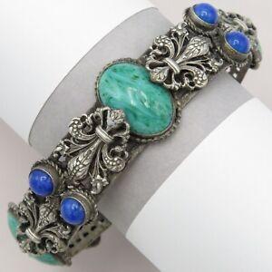 Vintage Art Deco Signed Czech Lapis Peking Glass Fleur de Lis Bangle Bracelet