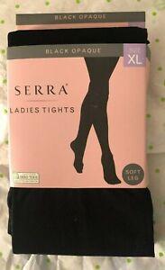 Serra Ladies Control Top Tights Black Opague Texture Pattern 2 Pr Extra Large
