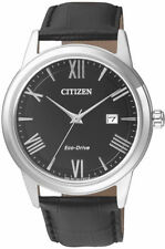 Citizen Mens Stainless Steel Black Leather Watch. Simple & Elegant. AW1231-07E.
