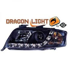 LHD Projector Headlights Pair LED Dragon Clear Black For Audi A6 Typ 4B 01-04